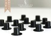 12 Miniature Black Plastic Top Hats
