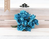 36 Small Teal Millinery Vintage Style Paper Roses Flowers