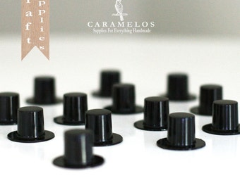 12 Miniature Black Plastic Top Hats