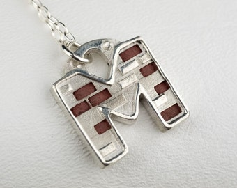 Personalized Letter Necklace Alphabet M Industrial Steampunk Bricks Concrete Pendant