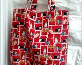 Bag For Life Cats Cotton Fabric Shopping Bag, Eco Bag, Market Bag,Grocery Bag - Red Cotton