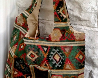 Bag For Life , Shopping Bag, Market Bag, Grocery Bag  - Green Chenille