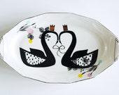 Majestic swan couple platter