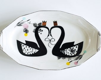 SALE! Majestic swan couple platter