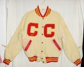 Vintage 50s Wool High School Letter Jacket 42 CC Central Snap Flannel Lined Orange Creme As Is