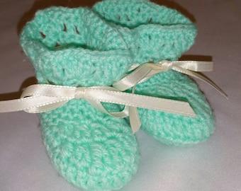 Crochet Baby Mint Booties/Newborn Booties/Mint Booties