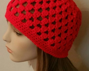 Red Crochet Beanie Cloche Hat