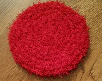Red Large Crochet Kitchen Scrubbie Double Sided
