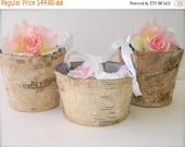 Flower Girl Basket + Birch Flower Girl Basket with White Ribbon Handle (Set of 3)