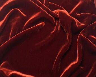 BURNT ORANGE Silk Velvet Fabric - fat 1/4