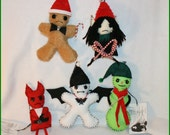 5 Hand Stitched Christmas Tree Ornaments Creepy Gothic Folk Art By Jodi Cain Tattered Rags