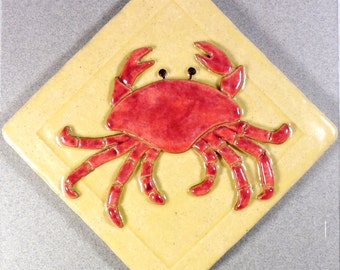 Crab Tile, 4 inch Ceramic Stoneware ~ Garden Tile ~ Accent Tile ~ Yellow ~ Red ~ Crustacean