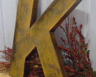 Large letter K ~~ Twelve Inch Letter  ~~ Sturdy Paper Mache ~~ Free Standing  ~~ Mustard Yellow