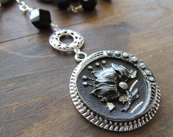 Victorian Button Necklace Assemblage / Floral Button Necklace / Sterling / OOAK Victorian Button Necklace / Downton Abbey / Etsy / Handmade