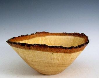 Small Rustic Natural Bark Edge Oak Burl Wood Turned Bowl- Wood Turning Art - Wooden Bowl - House Warming Bowl- Wedding Gift