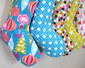 Christmas Stocking - Modern - Polka Dots - Blue - Boy Girl Family - Matching Stockings