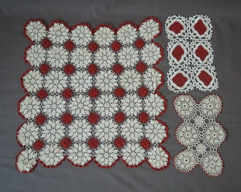 Vintage Crochet Doilies, 3 Assorted Red and White styles & Size, Vintage 1940s 1950s Crochet Lot