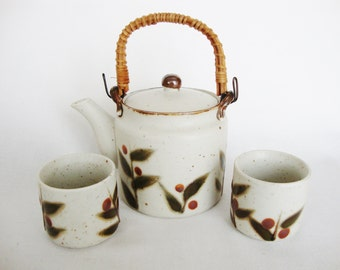 vintage otagiri bittersweet stoneware teapot and asian tea cups