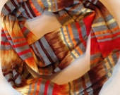 SALE Burnt Orange and Brown Stripe Jersey Knit Infinity Scarf