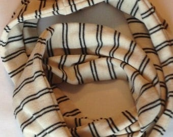 SALE Beige and Black Striped Jersey Knit Infinity Scarf