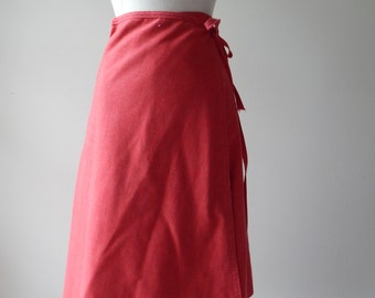1970s Chambray Red Skirt / 70s Floral Print Wrap Skirt