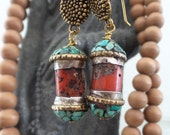 Rustic Coral Handmade Tibetan Bead Earrings
