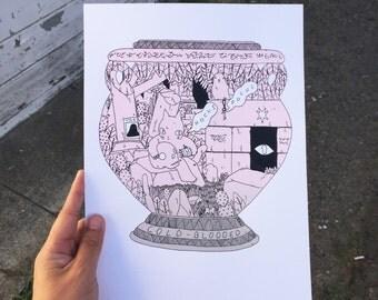 Cold Blooded Vase Print