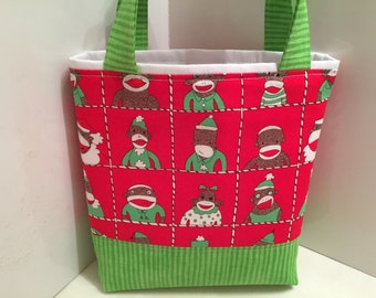 Sock Monkey Christmas, Gift Tote Bag, Gift Wrap, Wrapping Paper, Carol Duvall Show Craft, Toddler Tote, Birthday, Christmas Gift Bag