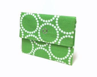 Green snap wallet. Card holder. Business card holder. Mini wallet for business cards, loyalty cards, credit cards, gift cards. Card case.
