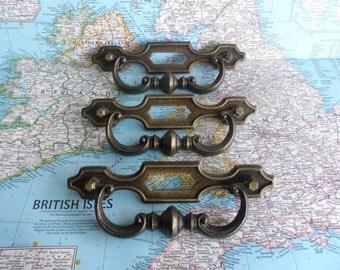 SALE! 3 large vintage curvy brass metal handles