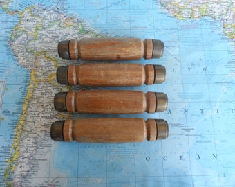 SALE! 4 chunky distressed wood handles w/ brass metal end pieces