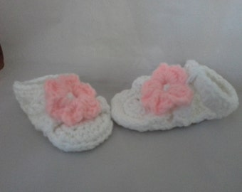 Crochet White Baby Sandals with Pink Flower