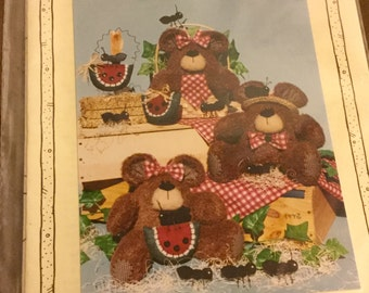 Teddy Bear Picnic Doll Pattern  with Watermelons Uncut Vintage