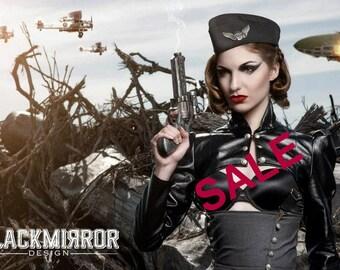 SALE black leatherette  steampunk aviator shrug