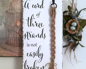 CORD of THREE STRANDS Sign, Unity Candle Alternative, Bride and Groom Signs, Wedding Signs, 12 x 24l