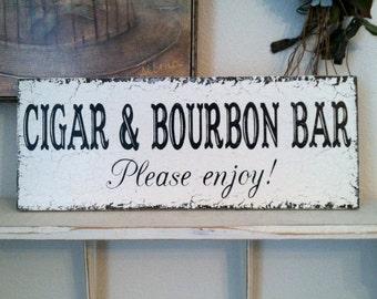 CIGAR Bar | BOURBON Bar |  Wedding Signs | BAR Signs | Groom Signs | 7 x 18
