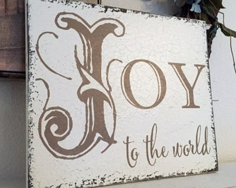 Christmas Signs, JOY to the world, Christmas Decorations, 10 x 12