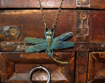 Dragonfly Necklace, Dragonfly Pendant, Nature Inspired, Woodland Jewelry, Bug Necklace, Insect Jewelry, Dragonfly Wings, Patina Blue