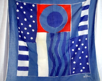 Vintage Vera Cotton Scarf - Red White and Blue