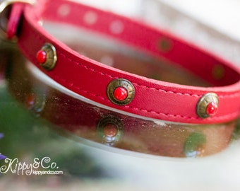 Red Leather Latigo Dog Collar, Red Turquoise Leather Collar, Small Dog Leather Collar,  Red Turquoise Concho Leather Dog