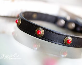 Black Leather Dog Collar, Black Dog Collar With Red Turquoise Stones, 1/2 inch Black Leather Dog Collar, Black Leather With Red Turquoise