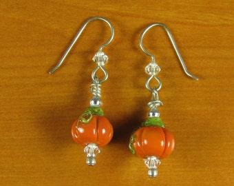 Pumpkin Sterling Silver Earrings SRA Lampwork beads