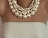 Pearl Wedding Necklace, Chunky Bridal Ivory Pearl  Necklace, Bold Bride Necklace, Multistrand necklace, Statement Necklace,Handmade Necklace