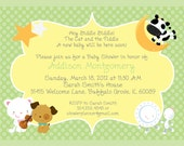 Nursery Rhymes Baby Shower Invitation, Printable Invitation, Custom Wording, JPEG File
