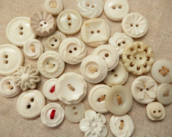 Vintage buttons set of 33 shabby white chalk white off white