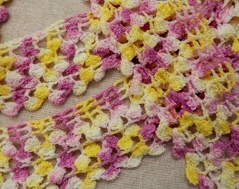 Crochet edging purple lavender yellow white