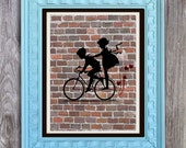 SALE Young Love Bike Art Print Includes 5 backgrounds Instant Digital Download DIY Print yourself