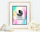 Baby Carriage Buggy Nursery Decor Instant Digital Download DIY Print yourself
