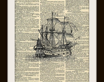 Art Print GALLEON SHIP 8x10  Dictionary Gold Gulided Vintage Page