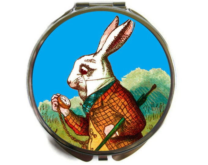 Alice In Wonderland White Rabbit Compact Mirror Pocket Mirror Large Gifts for her